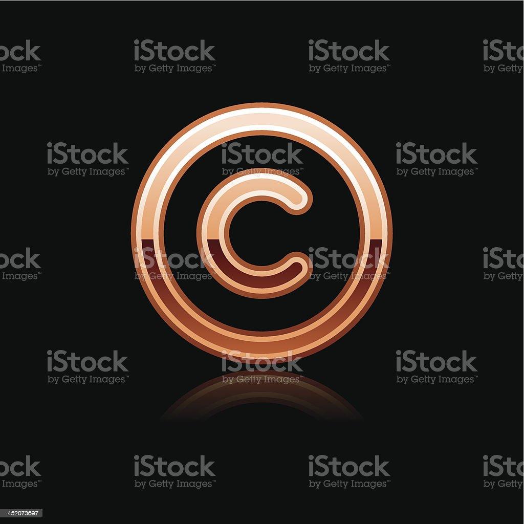 Copper copyright sign metal icon chrome pictogram web internet button vector art illustration