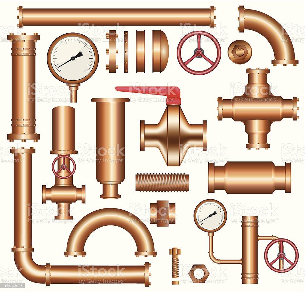 Copper pipeline elements vector art illustration