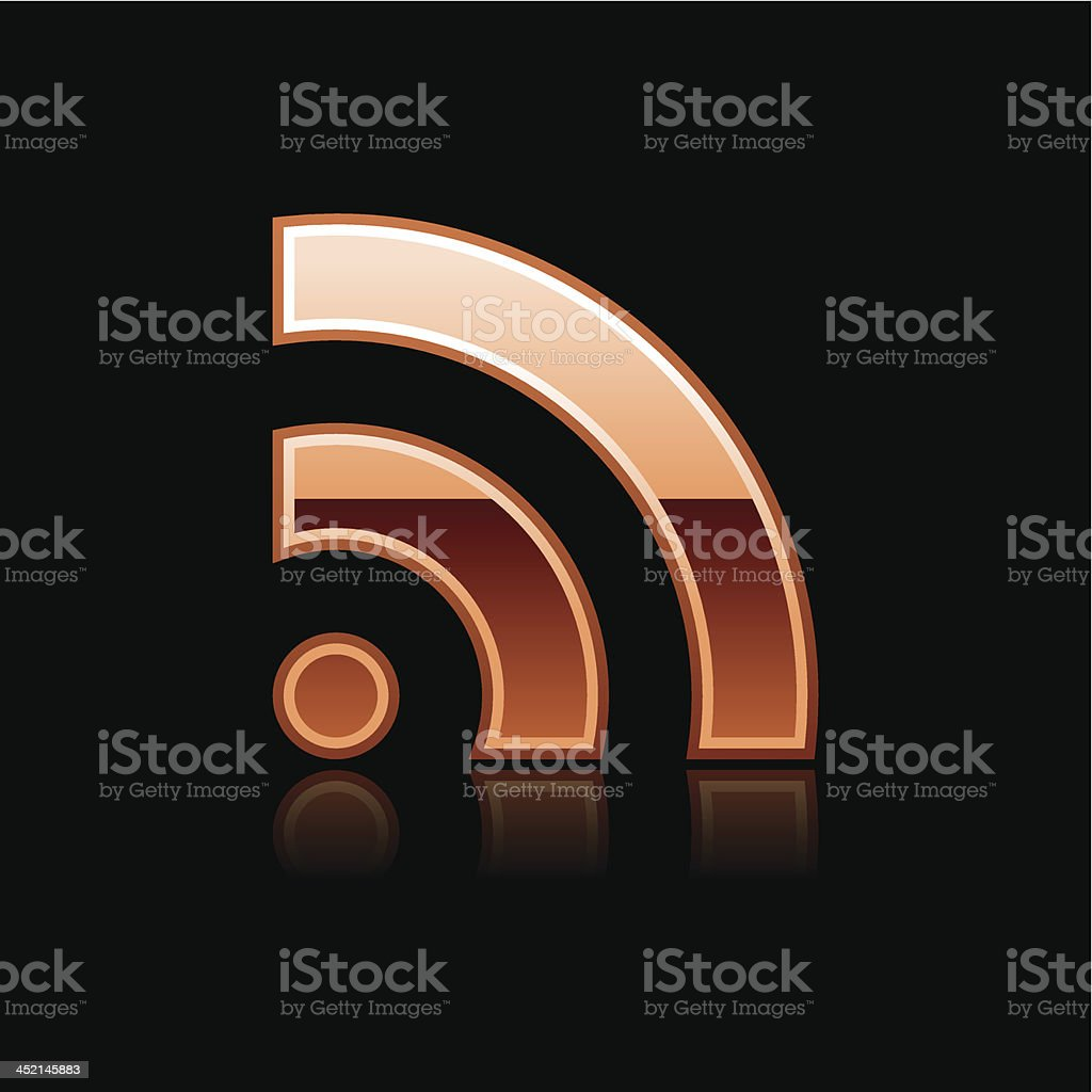 Copper RSS download sign glossy icon chrome pictogram web button royalty-free stock vector art