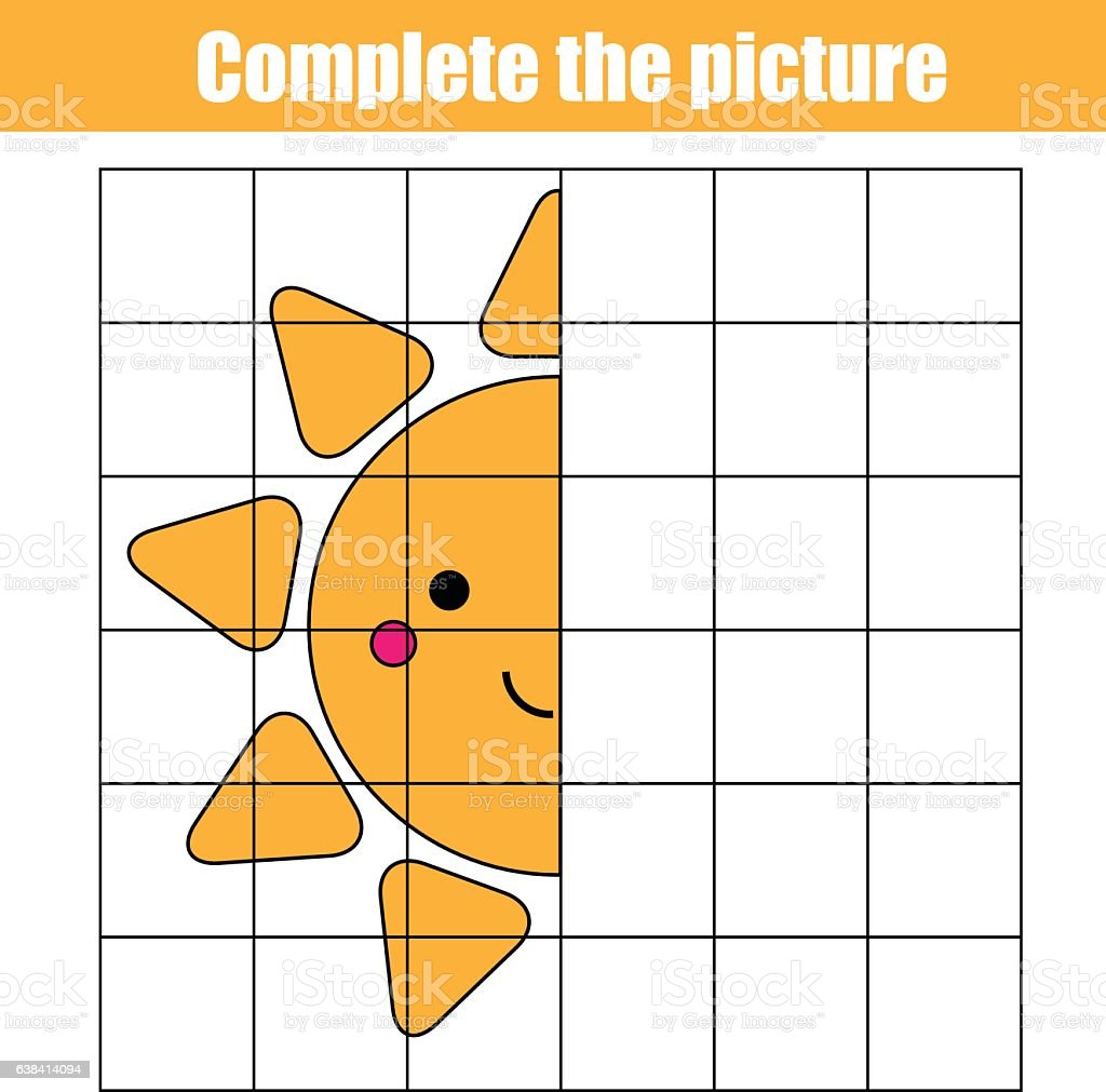 Copy by grid. Complete the picture children educational game, coloring vector art illustration