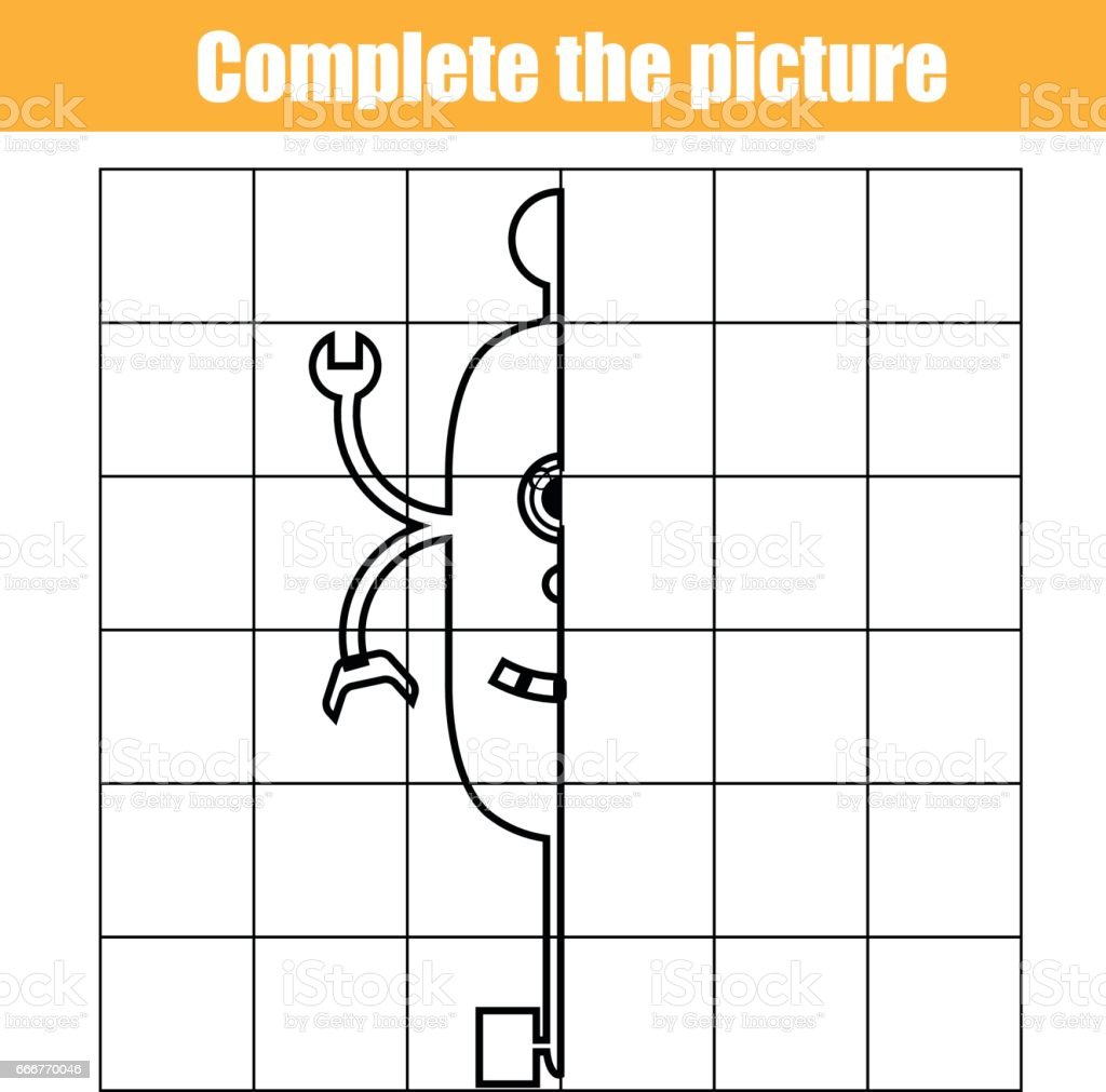 copy by grid complete the picture children educational game