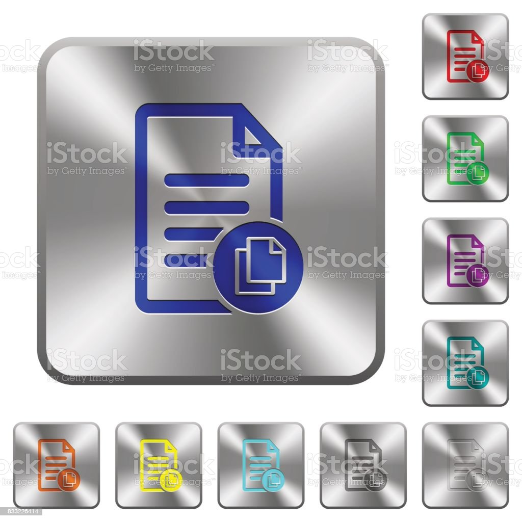 Copy document rounded square steel buttons vector art illustration