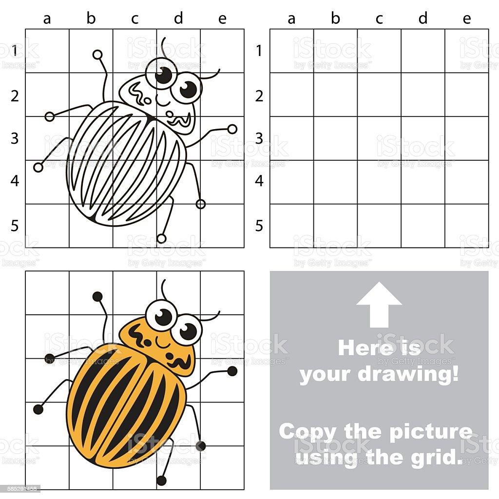 Copy the image using grid. Potato Bug. vector art illustration