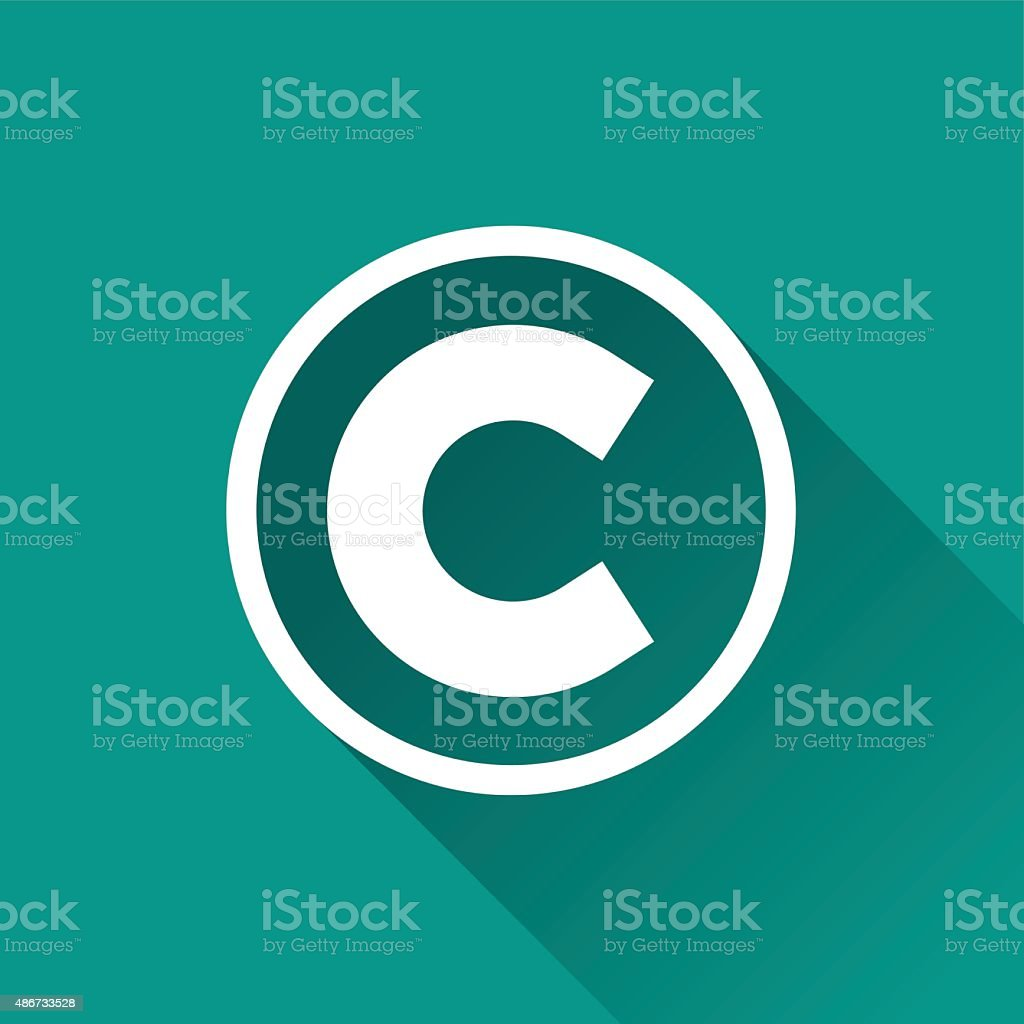 copyright flat design icon vector art illustration