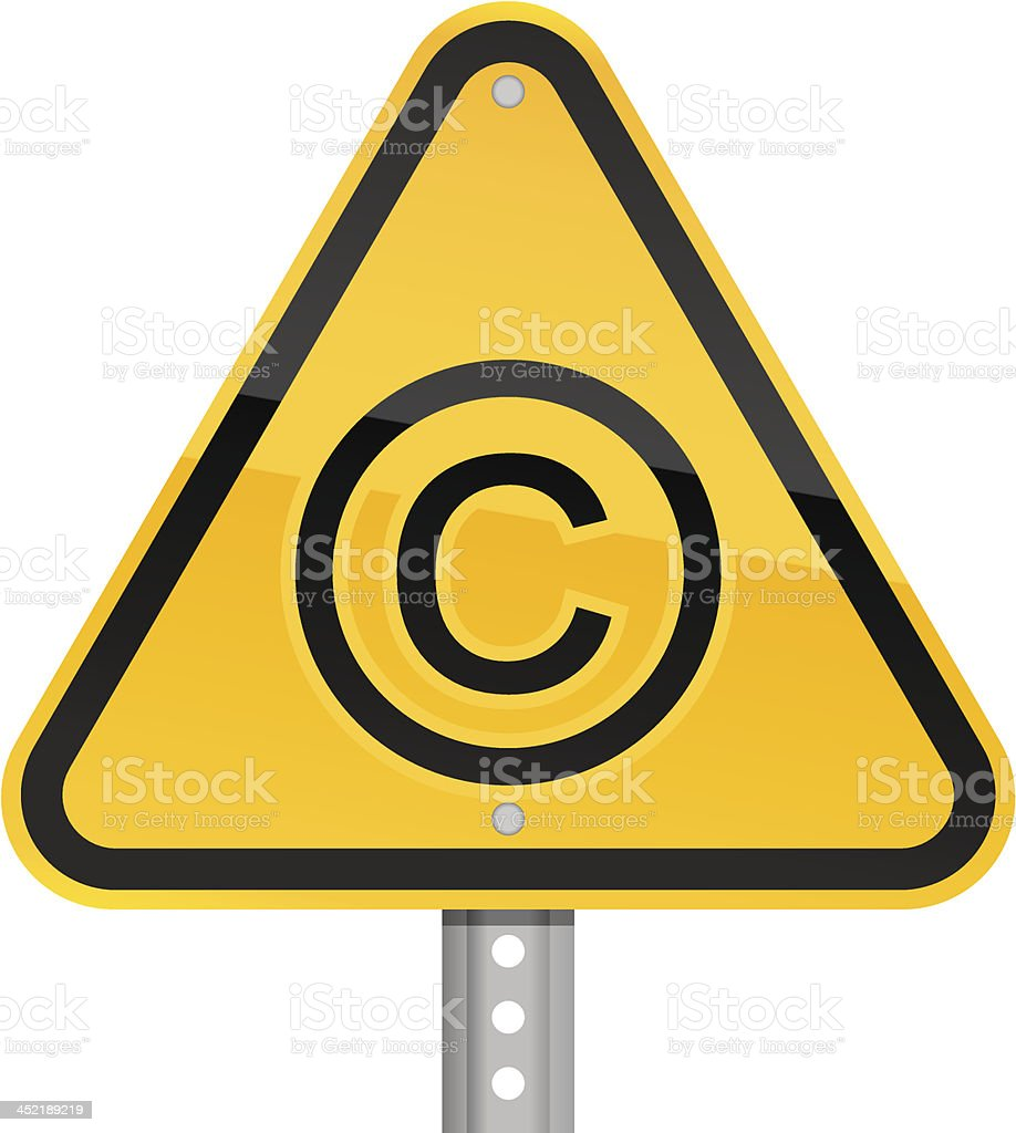 Copyright pictogram warning triangle yellow road sign white background vector art illustration