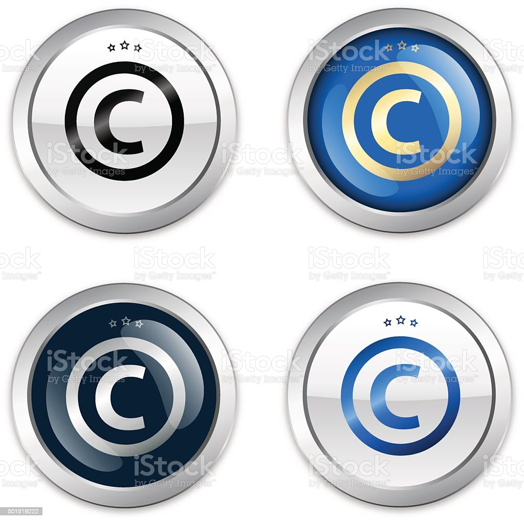 Copyright seal or icon with © symbol vector art illustration
