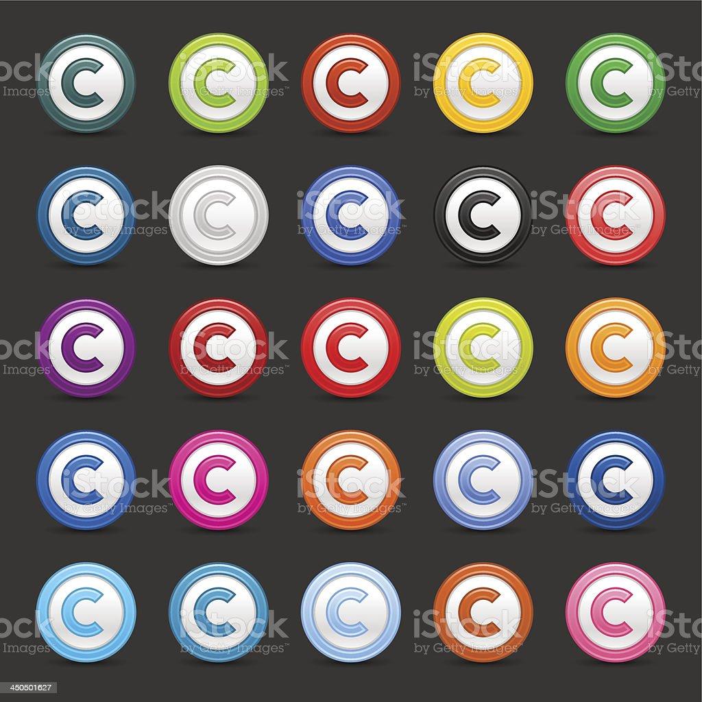 Copyright sign circle button web internet icon vector art illustration