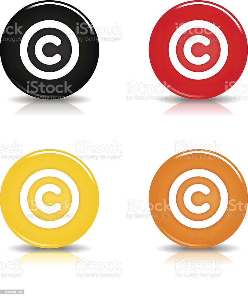 Copyright sign circle icon glossy black red yellow orange button royalty-free stock vector art