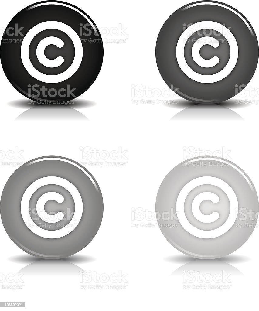 Copyright sign circle icon glossy gray black button reflection shadow vector art illustration