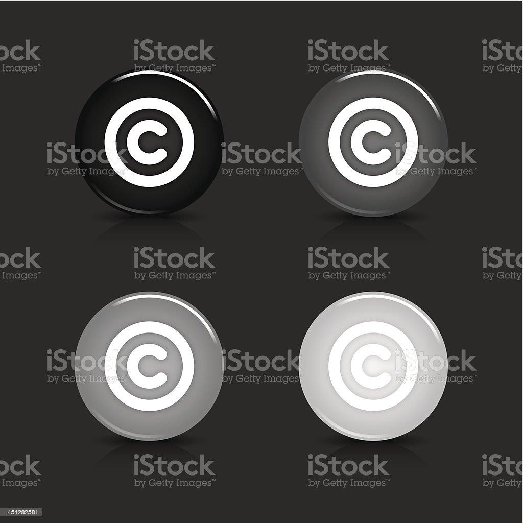 Copyright sign circle icon gray black web internet button vector art illustration