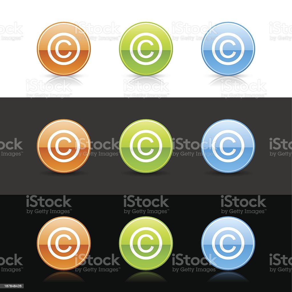 Copyright sign circle icon orange green blue button shadow reflection vector art illustration