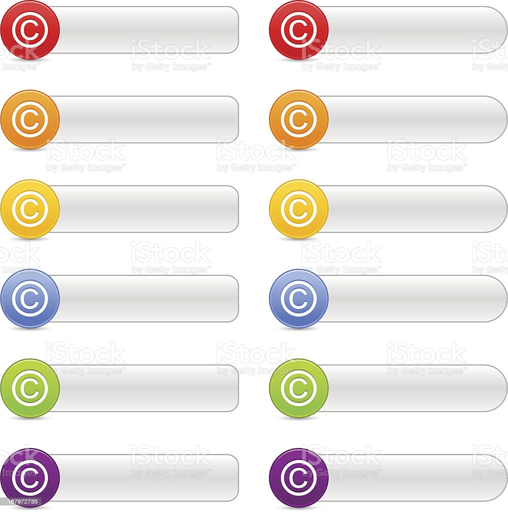 Copyright sign color icon web internet button gray navigation panel vector art illustration