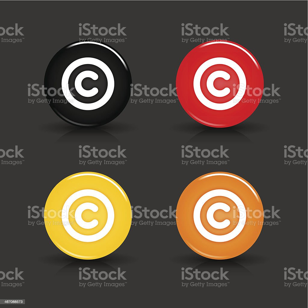 Copyright sign glossy black red yellow orange button circle icon royalty-free stock vector art