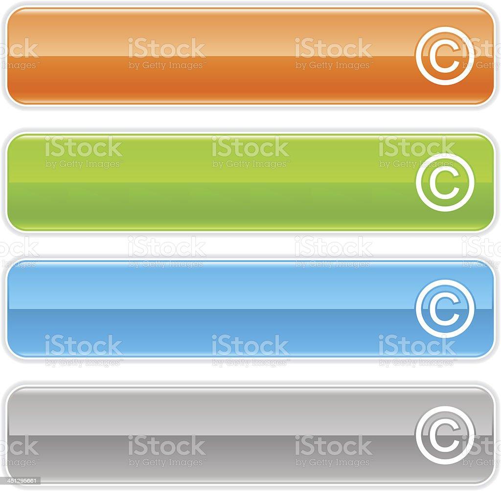 Copyright sign glossy icon orange green blue button vector art illustration