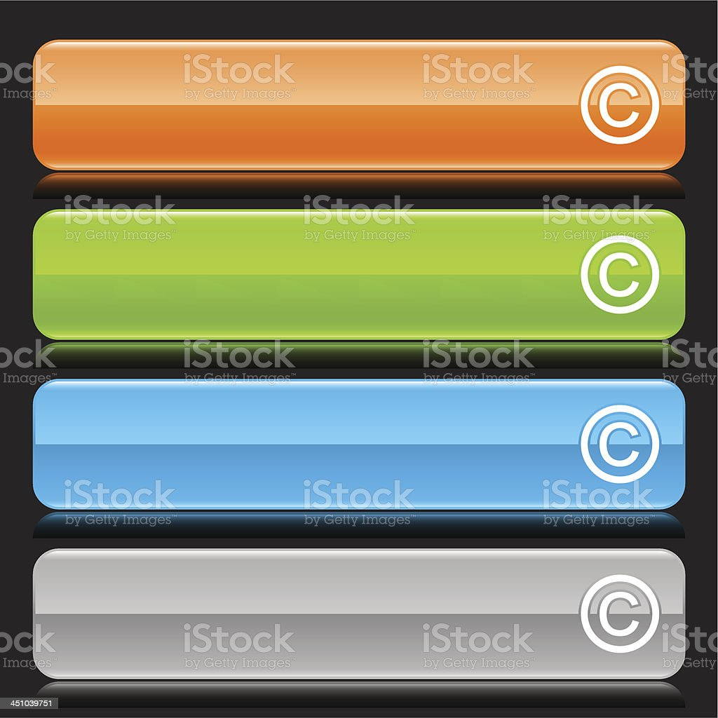 Copyright sign glossy icon orange green blue gray button vector art illustration