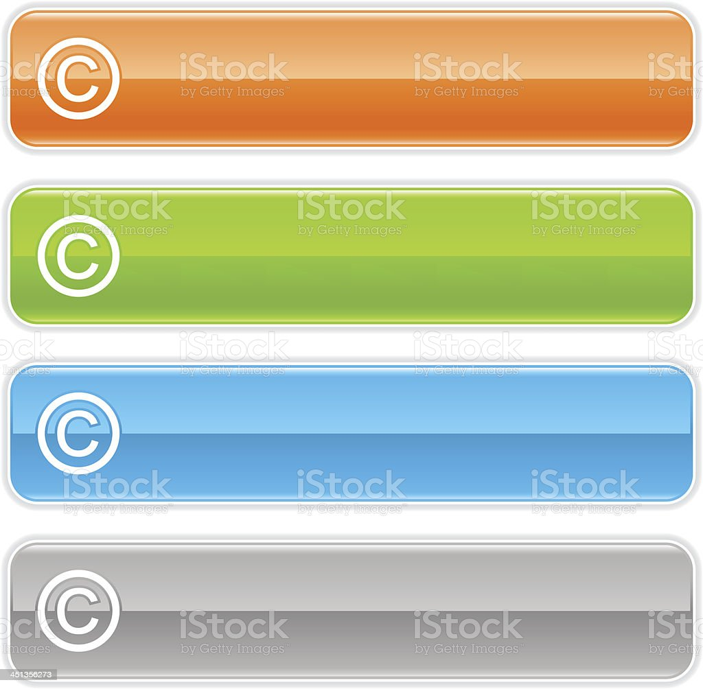Copyright sign glossy icon orange green blue rectangle button vector art illustration