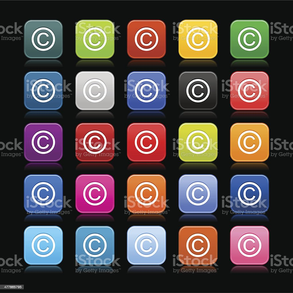Copyright sign rounded square icon web button black background vector art illustration