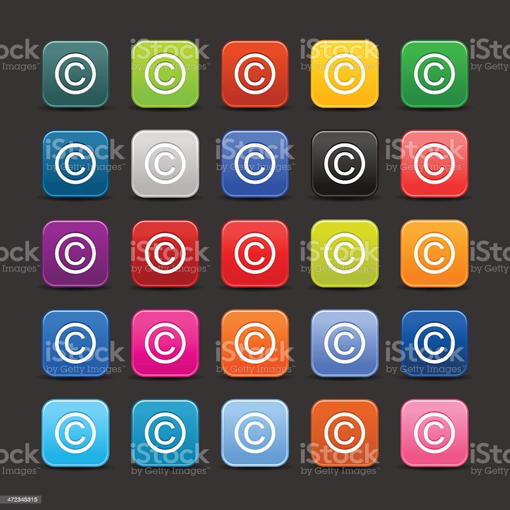 Copyright sign set rounded square icon web internet button vector art illustration