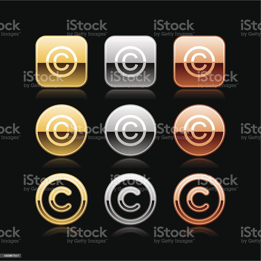 Copyright sign square circle button chrome metal web internet icon vector art illustration