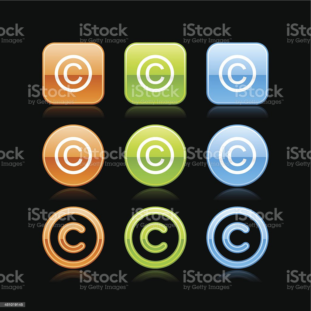 Copyright sign square circle button color glossy web internet icon vector art illustration