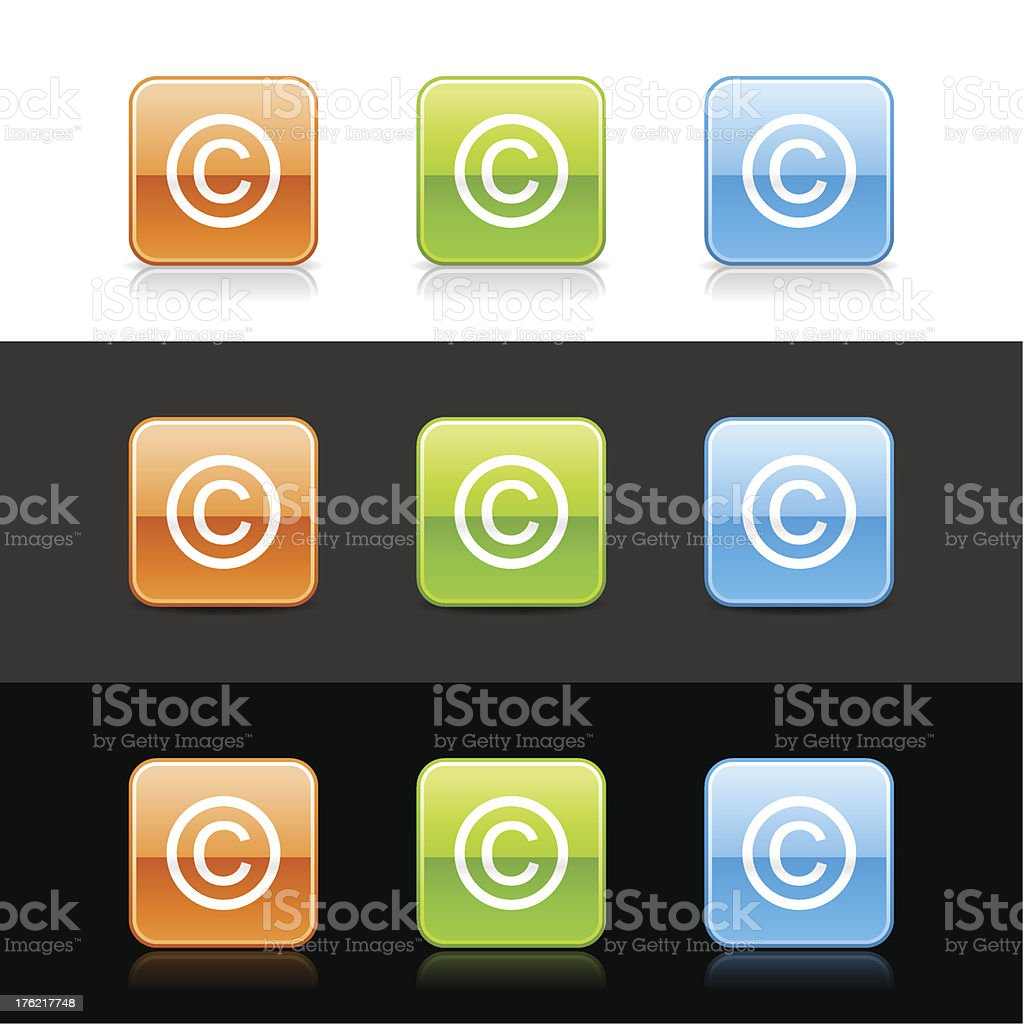 Copyright sign square icon orange green blue button shadow reflection vector art illustration