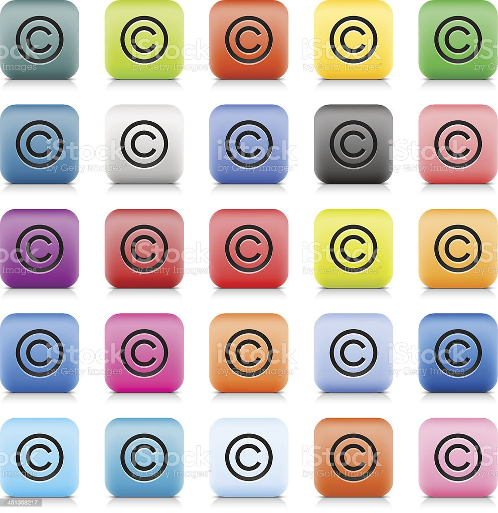 Copyright sign web button color internet icon black pictogram vector art illustration