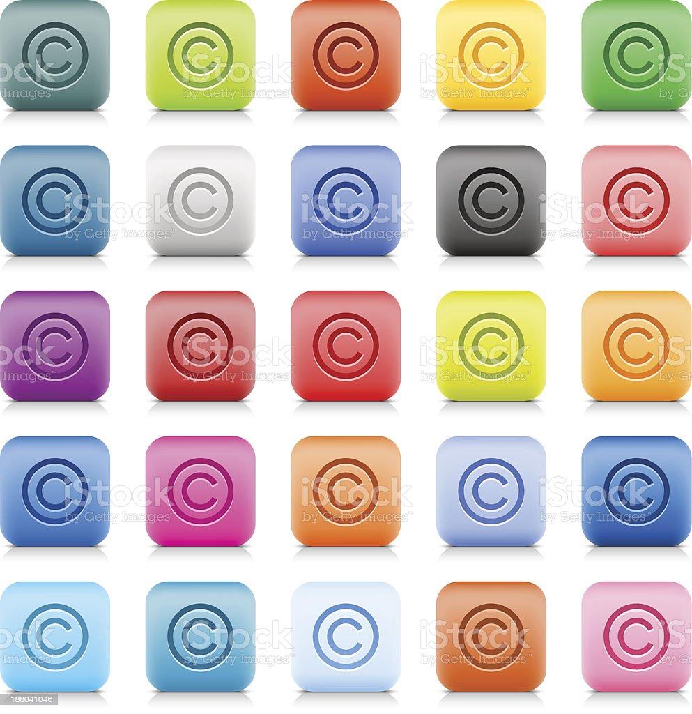 Copyright sign web button color stone satin style internet icon vector art illustration