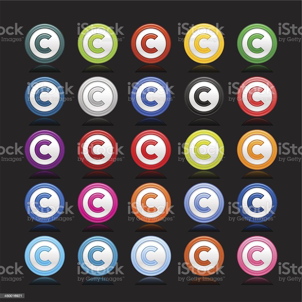 Copyright sign web icon circle button color reflection vector art illustration
