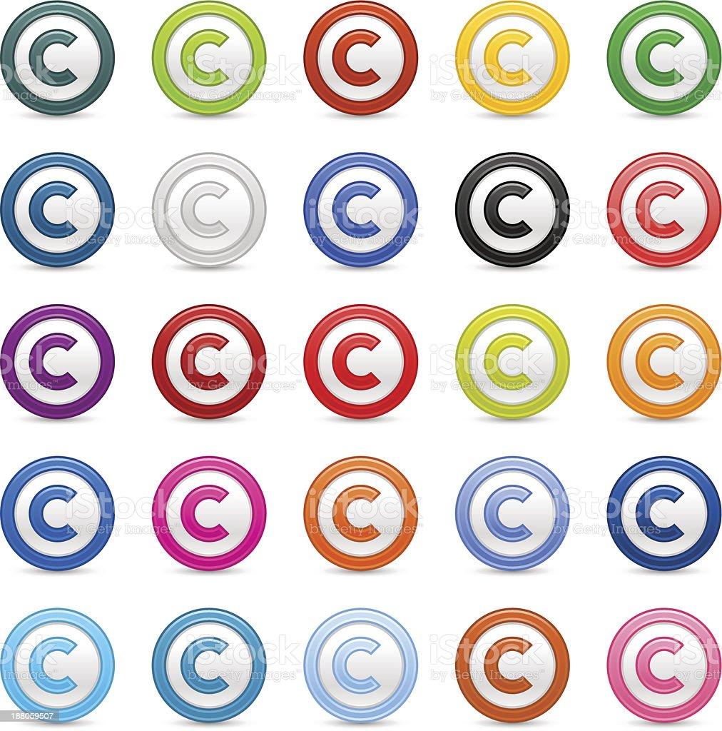 Copyright sign web icon circle satin button vector art illustration
