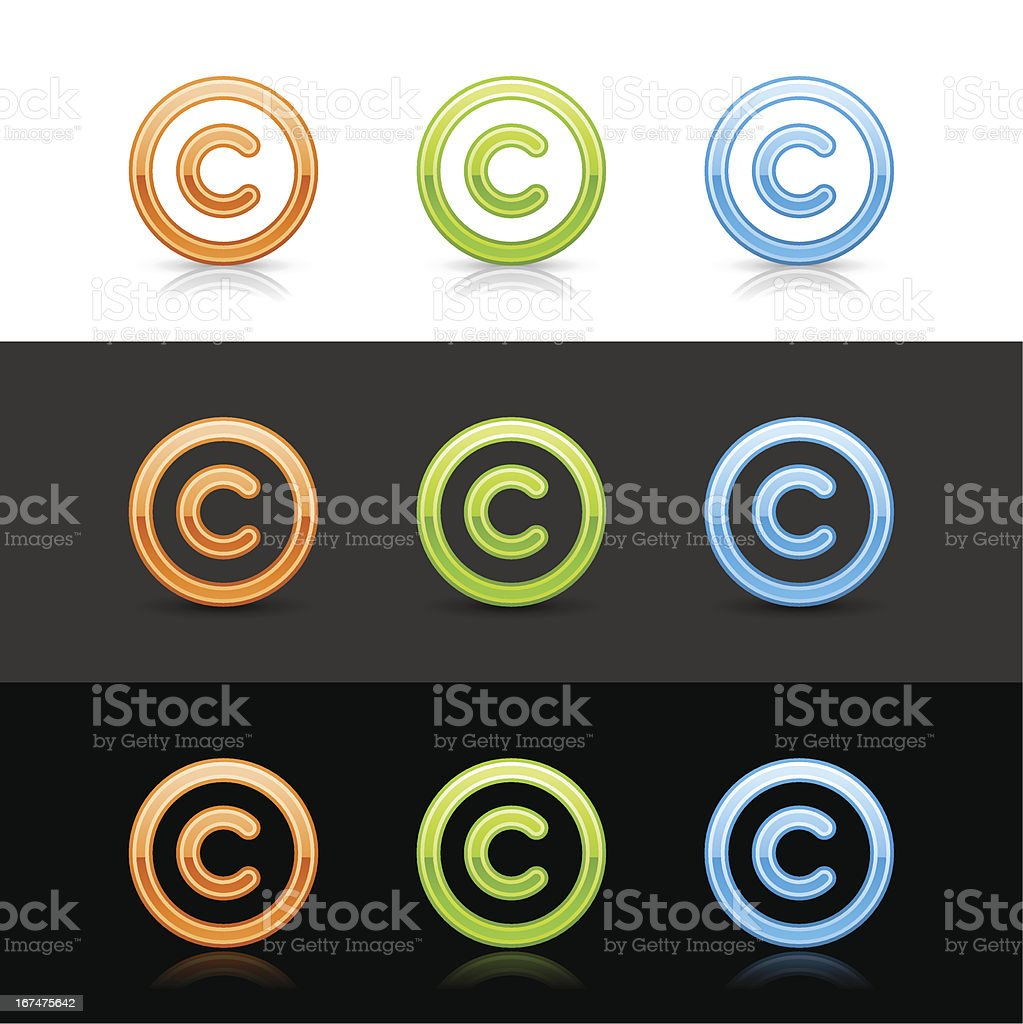 Copyright sign web icon orange green blue button shadow reflection vector art illustration