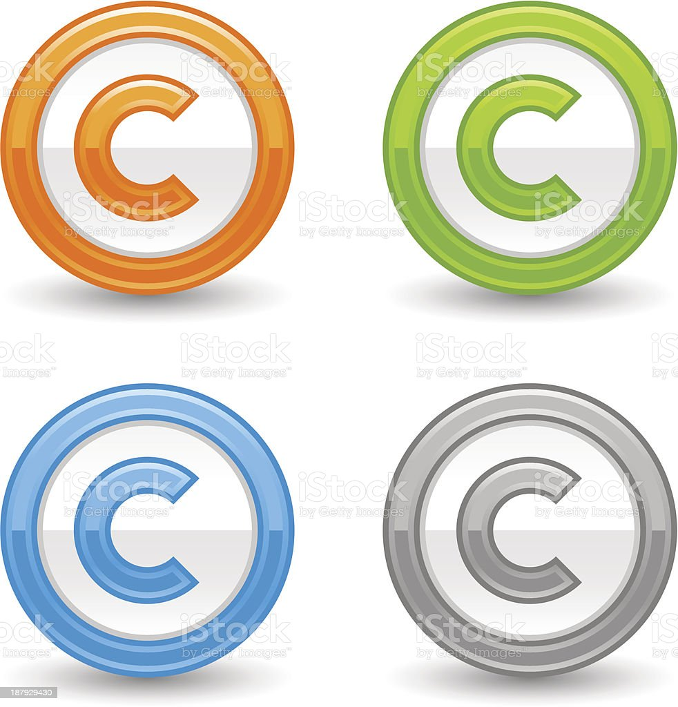 Copyright sign web icon orange green blue gray glossy button vector art illustration