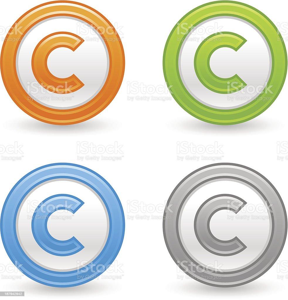 Copyright sign web icon orange green blue gray satin button vector art illustration