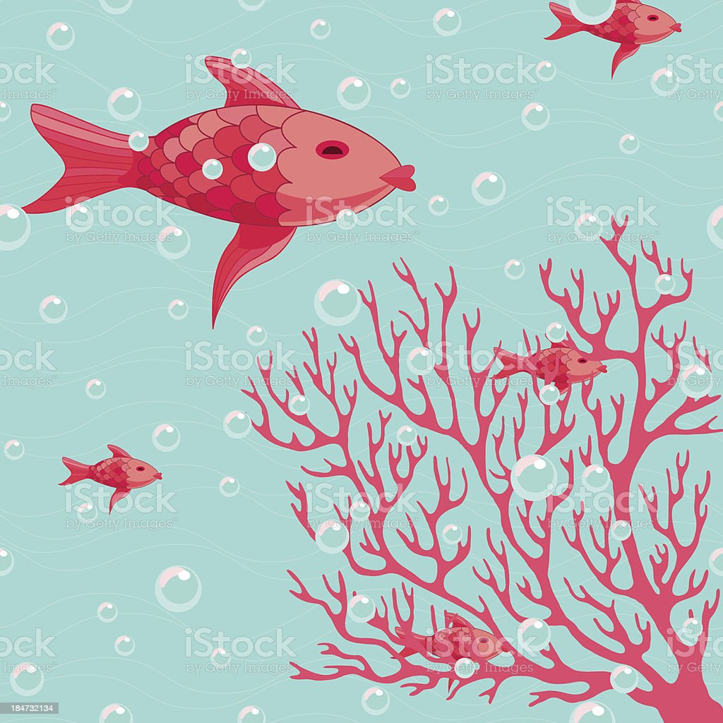 Coral and fishes vector illustration vector art illustration