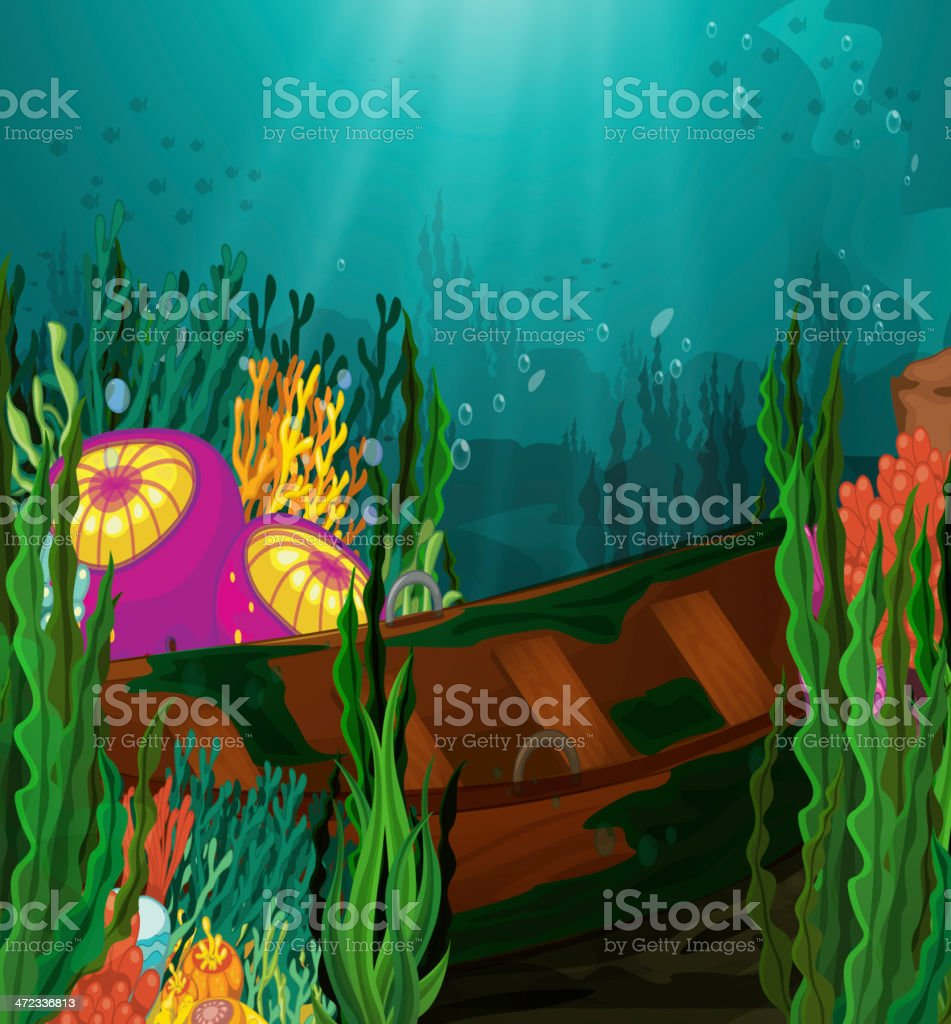 Coral and rowboat in deep sea royalty-free stock vector art