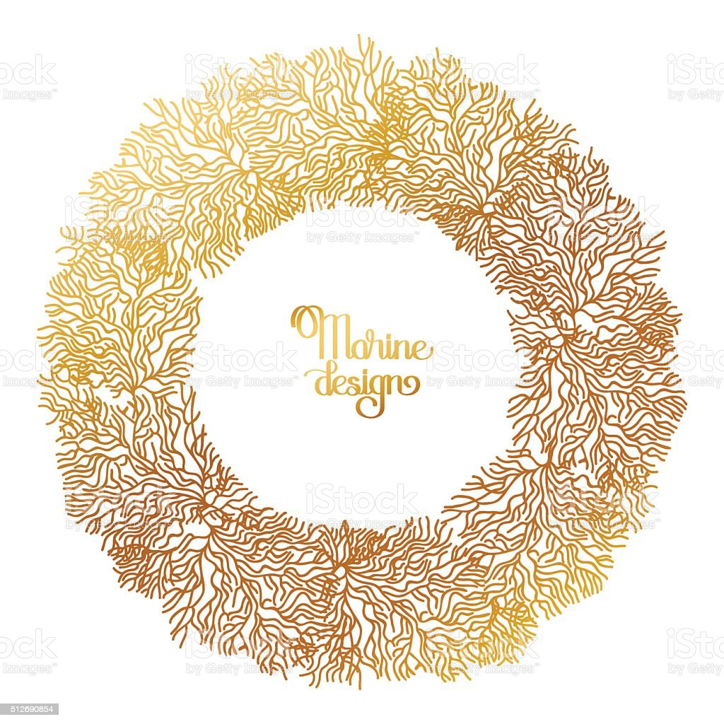 Coral  graphic wreath vector art illustration