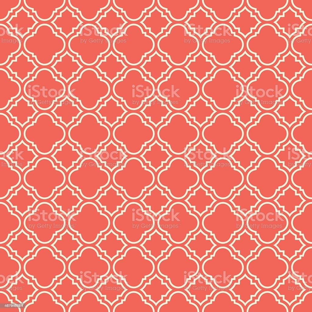 coral pink quatrefoil pattern vector art illustration