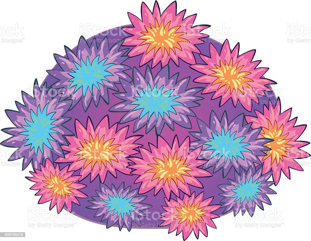 Coral plant on white vector art illustration