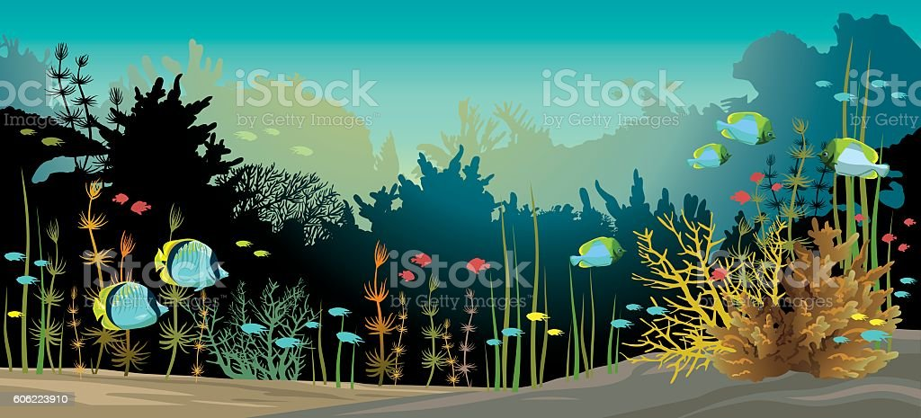 Coral reef and fish. vector art illustration