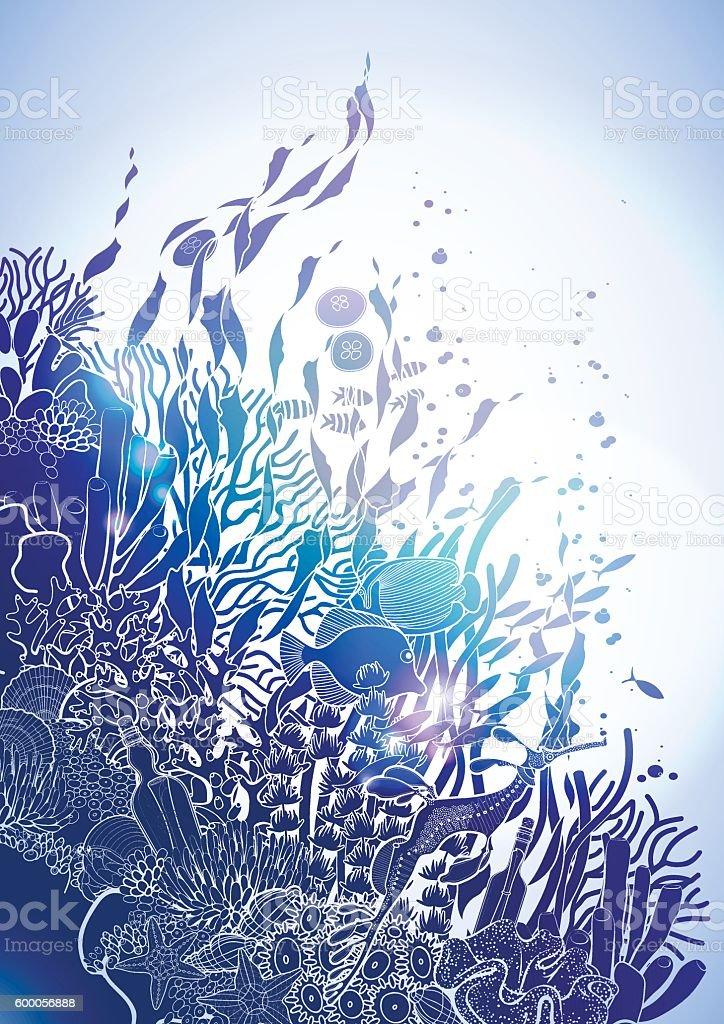 Coral reef design vector art illustration