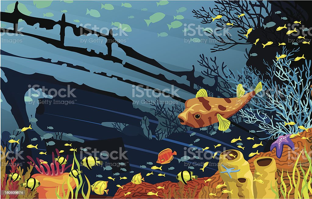 Coral reef with colored fish royalty-free stock vector art