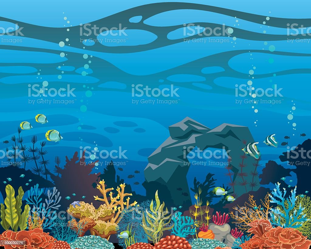 Coral reef with fish and arch. Underwater sea. vector art illustration