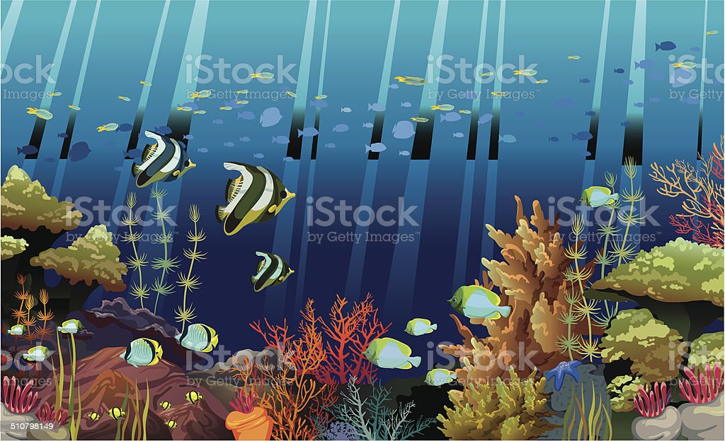 Coral reef with underwater creatures. vector art illustration
