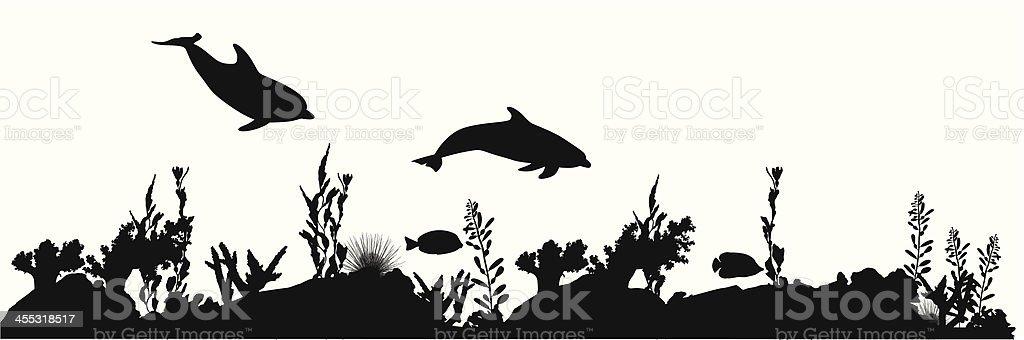 Coral Sea Life Vector Silhouette vector art illustration