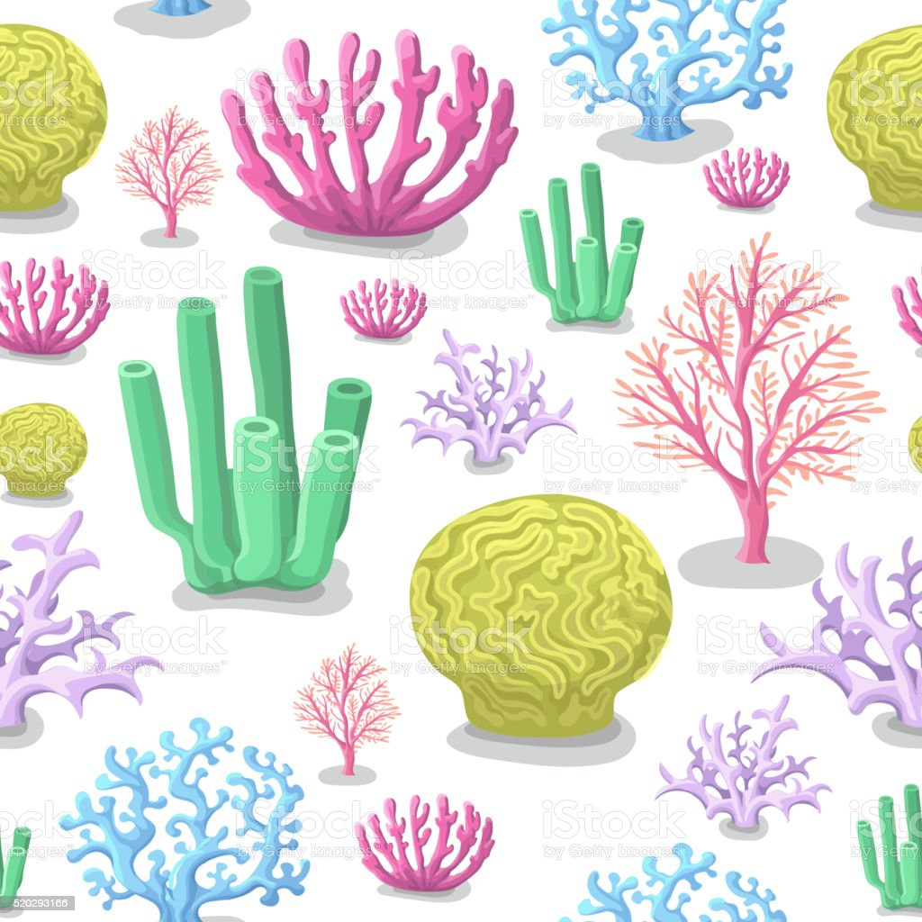 Corals seamless pattern. Life marine, colorful aquatic background. Vector illustration vector art illustration