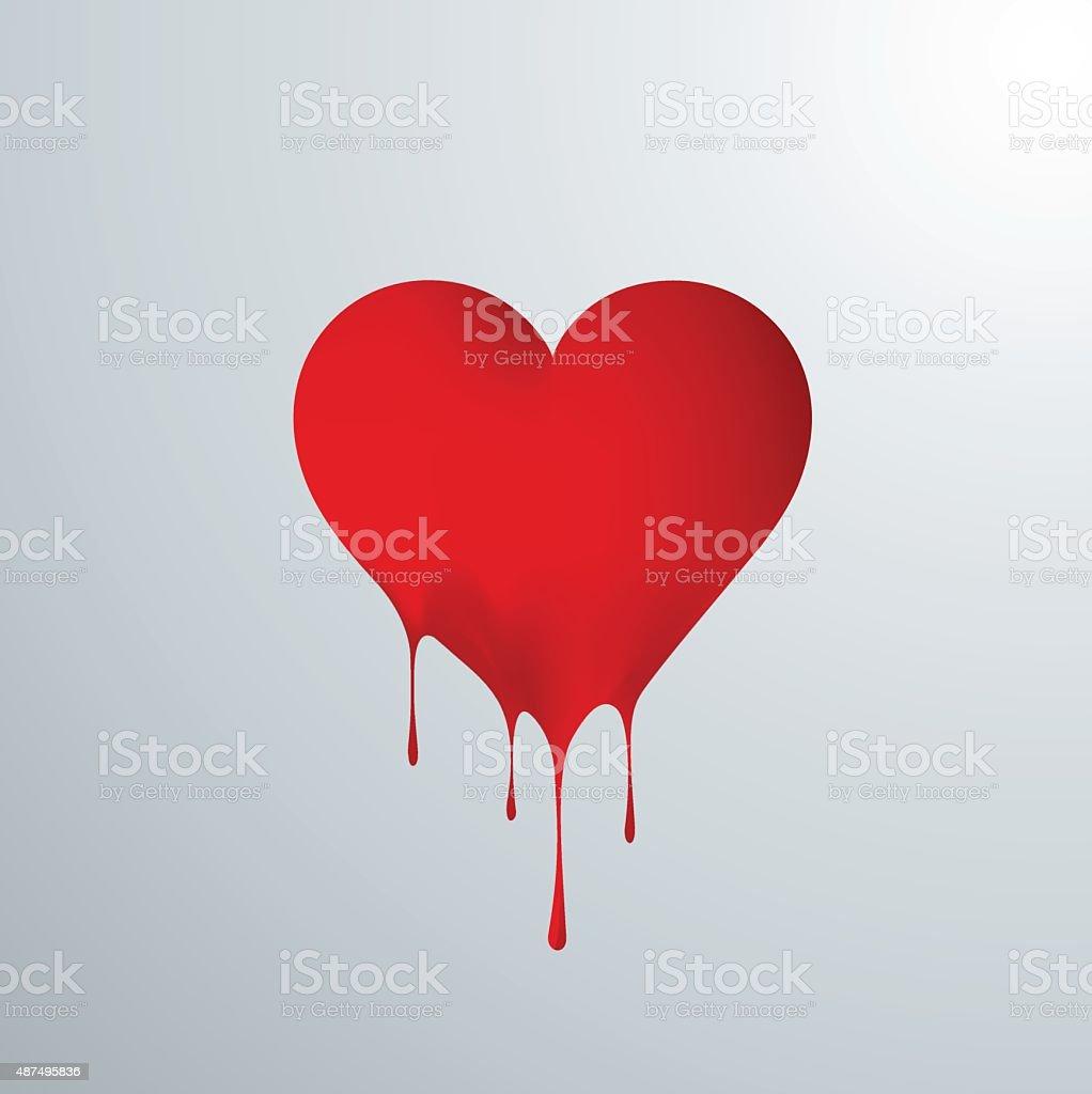Corazón rojo derritiendose en gotas vector art illustration