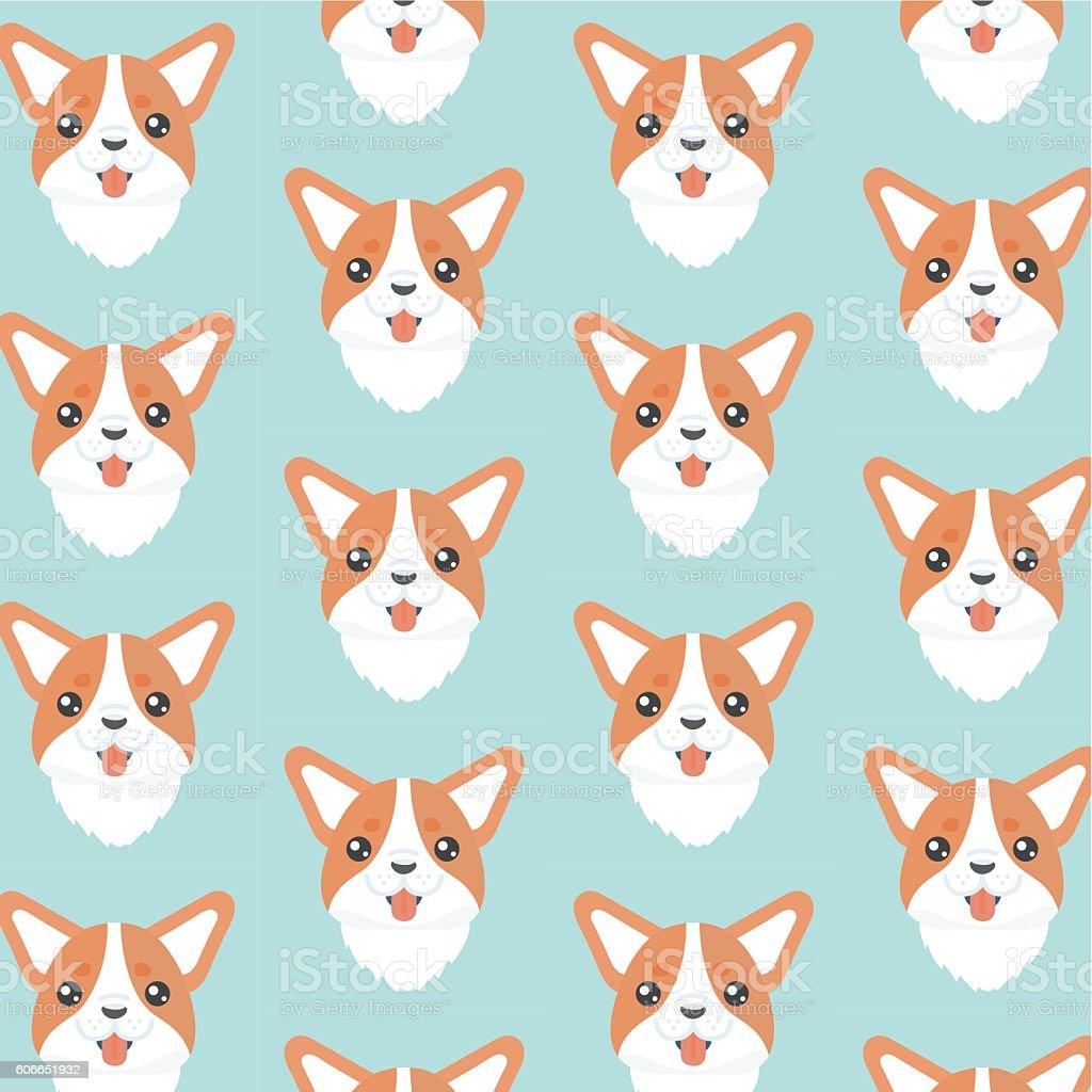 Corgi pattern. vector art illustration