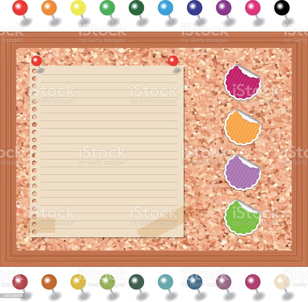 Cork board and stickers and tacks vector art illustration
