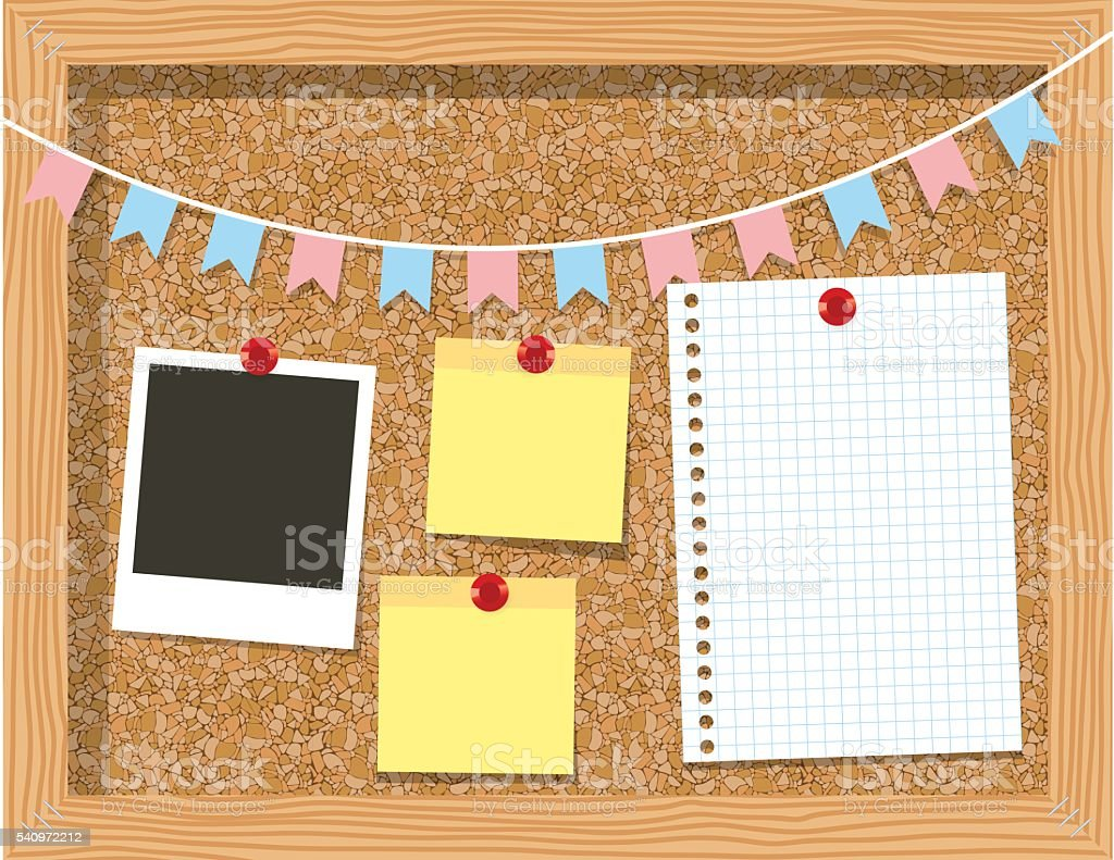 Cork board with a piece of paper  photo frames vector art illustration