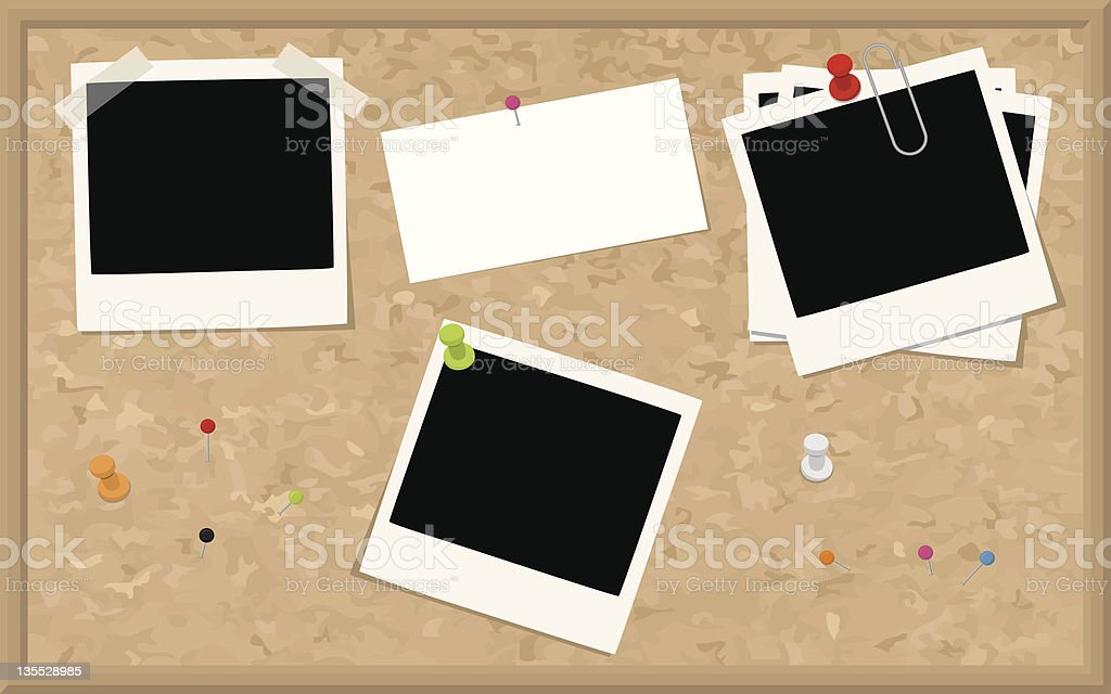 Cork Board with Blank Photographs and Card royalty-free stock vector art