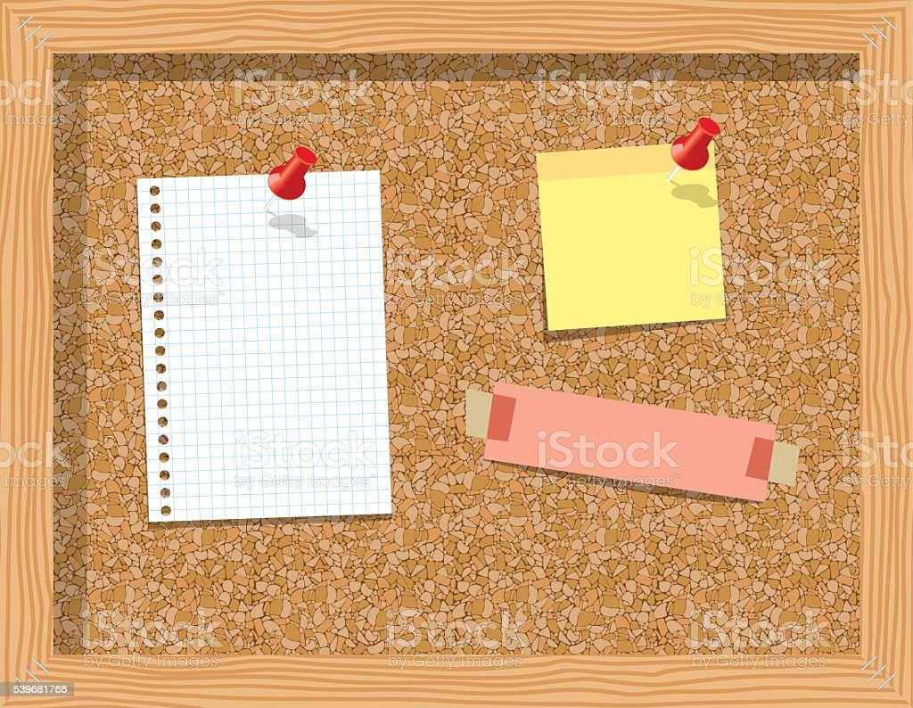 Cork board with pinned paper notepad sheets vector art illustration
